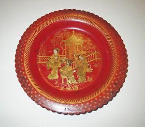 Antique 1800s RED LACQUER CINNABAR GOLD BOWL  - GEISHA SERVING TEA Chinese Japan