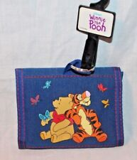 New With Tag Winnie The Pooh Kids Trifold Coin Wallet Blue Flowers