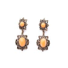 2 3/4'' Drop Dangle Earrings New New Zara Beautiful Salmon White Antiquated Gold