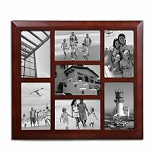 Adeco Decorative Walnut-Color Wood Wall Hanging Collage Picture Photo Frame 4x6""