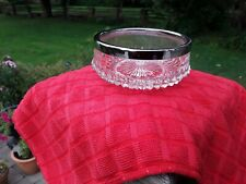 Cut Glass Vintage Candy Bowl / Dish With Metal Rim. Made in England.