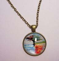 Tree of Life Design #3 Cabochon Pendant Necklace w/ Chain Unique Jewelry Gift