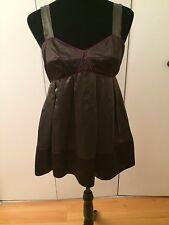 French Connection Women's Top Brown Pink Piping Baby Doll Silk Sleeveless Size 6