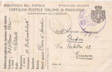 CARTOLINA VIAGGIATA IN FRANCHIGIA _PRIMA GUERRA MONDIALE _BIBLIOTECA DEL POPOLO