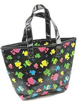 Hello Kitty Black Vinyl Tote Bag AS NEW Never Used Lined Very tiny flaw