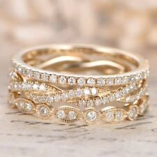 Diamond Eternity Three Pieces Band Wedding Ring 14k White Gold 2.50 Ct Round Cut