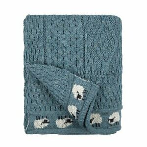 100% British Wool Arran Sheep wool Throw/Blanket IN Blue Colour - MADE IN UK