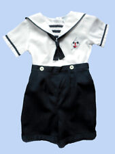 Boys Friedknit Creations Smocked Button-On Shortall Nautical Beach Portrait 24 m