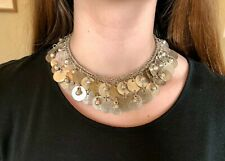 ONE OF A KIND 1800's Silver Gold Egyptian Qirsh Bib Necklace / Usekh Collar