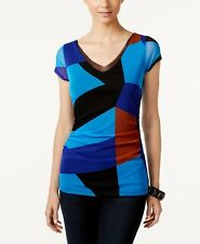 New-Size S-Inc International Concepts-Women Colorblocked V-Neck Top-Blue/Brown