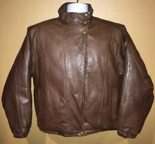 Eddie Bauer Womens Goose Down Brown Leather Quilted Bomber Jacket Sz M