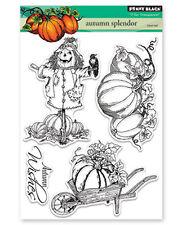 New Penny Black AUTUMN SPLENDOR Clear Stamp Pumpkin Harvest Scarecrow Fall Wish