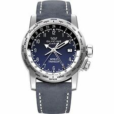 GLYCINE Airman World Traveler Blue Degrade Dial Mens GMT Watch 3939.18 LB8B