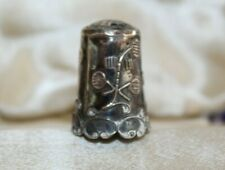"""Vintage Sterling Silver Mexico Mexican Ornate Sewing Thimble 1"""" tall"""