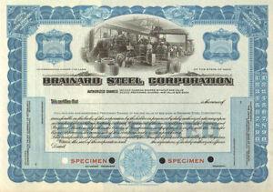 Brainard Steel > SPECIMEN Ohio old stock certificate