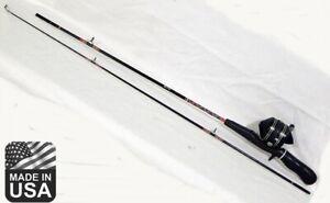 "Excellent vintage Zebco 606 fishing reel on 4057 Medium 2 pc 5'6"" rod combo"