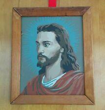 Vtg Jesus Paint By Number Framed Religious Portrait Kitsch Wall Art 60s