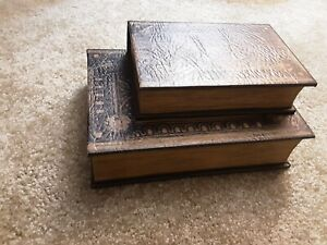 (2) Decoy Secret Storage Fake Books Stash Faux Leather Wood Decor Diversion Safe