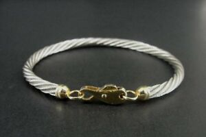 """Nabco Twist Look SS 14K Yellow Gold Clasp Sterling Silver Bracelet 7 1/2"""""""