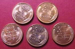 1958-D   LINCOLN  WHEAT CENTS, Lot of 5 Brilliant Uncirculated, Beautiful Coins