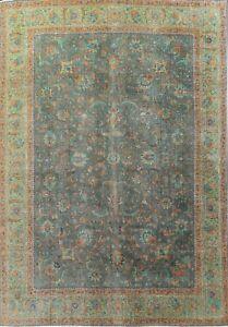 Antique Overdyed Tebriz Handmade Area Rug Evenly Low Pile Oriental Carpet 10X13