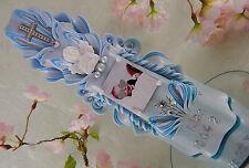 Taufkerze geschnitzt blau mit Taufspruch oder Foto Schutzengel für Jungen