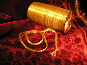 Gold Metallic embroidery thread skein antique vtg very fine 35 yard ! c 1800´s