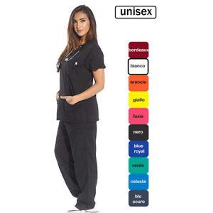 Divise complete casacche da lavoro medico infermiera sanitario estetista unisex