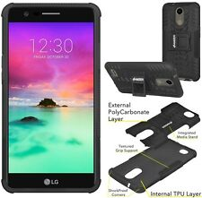 AMZER Black Dual Layer Hybrid Warrior Case Stand Cover For LG K10 2017 M250N LV5