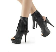 "6"" Neon Pink Platform Ankle Boots Heels Stripper Pole Dance Shoes Pleaser 7 8 9"