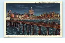 *View from Million Dollar Pier at Night Atlantic City NJ Vintage Postcard C26