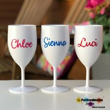 1 x Personalised,Plastic Wine Proseco Glass Hen, Birthdays,Party more colours.