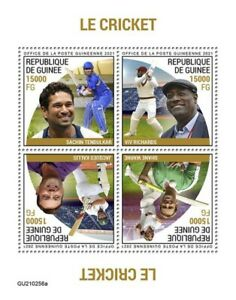 Guinea - 2021 Cricket Players on Stamps - 4 Stamp Sheet - GU210256a
