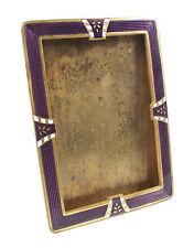 Art Deco Guilloche Enamel & Gilt Brass Picture Frame - Continental - 20th C.