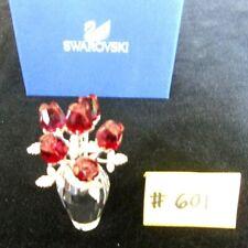 "Swarovski ""Flower Dreams"" 6 Red Crystal Roses In Vase, 2.75""H, Xlnt Condition"