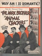 Why Am I So Romantic 1930 The Marx Brothers Animal Crackers Sheet Music