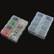 Plastic Clear Pill Box Medicine Tablet Divider Case Container Storage 8-Slot set