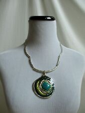 Silver Tone Chunky Pendant Necklace w/Earrings Faux Turquoise Center Green Blues