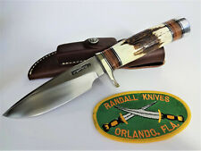 """RANDALL KNIFE Model 25-5"""" SS TRAPPER Stag/Leather Handle NS Hilt,Duralumin Cap"""