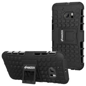 AMZER Shockproof Warrior Hybrid Case for HTC 10 - Black/Black