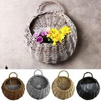 Wicker Brown Wood Wall Hanging Pocket Basket Flat Back Door Decorations