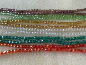Faceted barrel 4mm glass crystal fire polished bead strands jewellery making UK