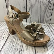 BØC Champagne Single Flower Leather Ankle Strap Sandal Size 7M Cute Summer