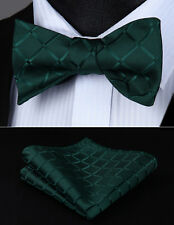 Bow Tie handkerchief set BC423GS Green Check Bowtie Men Silk  Wedding Self
