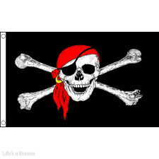 Pirate Flag. Large Skull and Scarf Flag.  8ft  x  5ft.