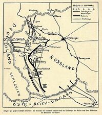 1914 Kampf in Galizien * Skizze 2 zur großen russischen Offensive *  WW1
