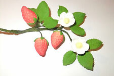 "Sugar Gum Paste Sugar Strawberry spray 4.5"" cake topper"