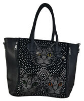 Shoppertasche Katzen - echte Strass-Steine - Katze Kater