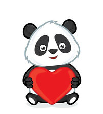 Panda Heart Love Cartoon 3.5 inch Sticker White Vinyl Decal  Stickers die cut