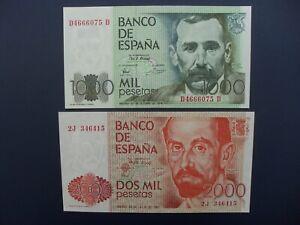 2No. 1979/80 SPAIN 1000 & 2000 PESETAS BANKNOTES ORIGINAL GVF & EF